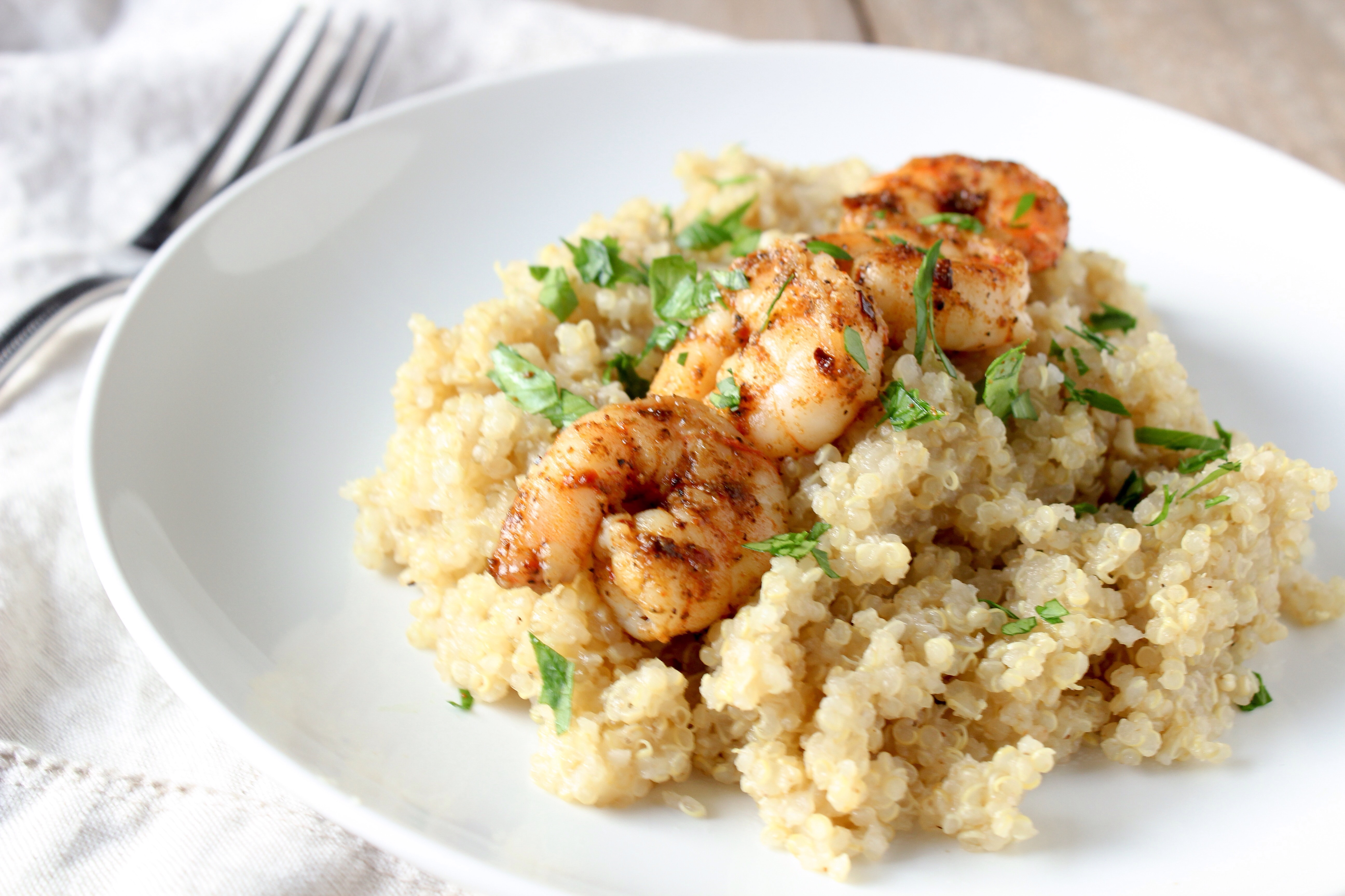 Spicy shrimp with Garlicky Parmesan Quinoa - Meg's Meal ...